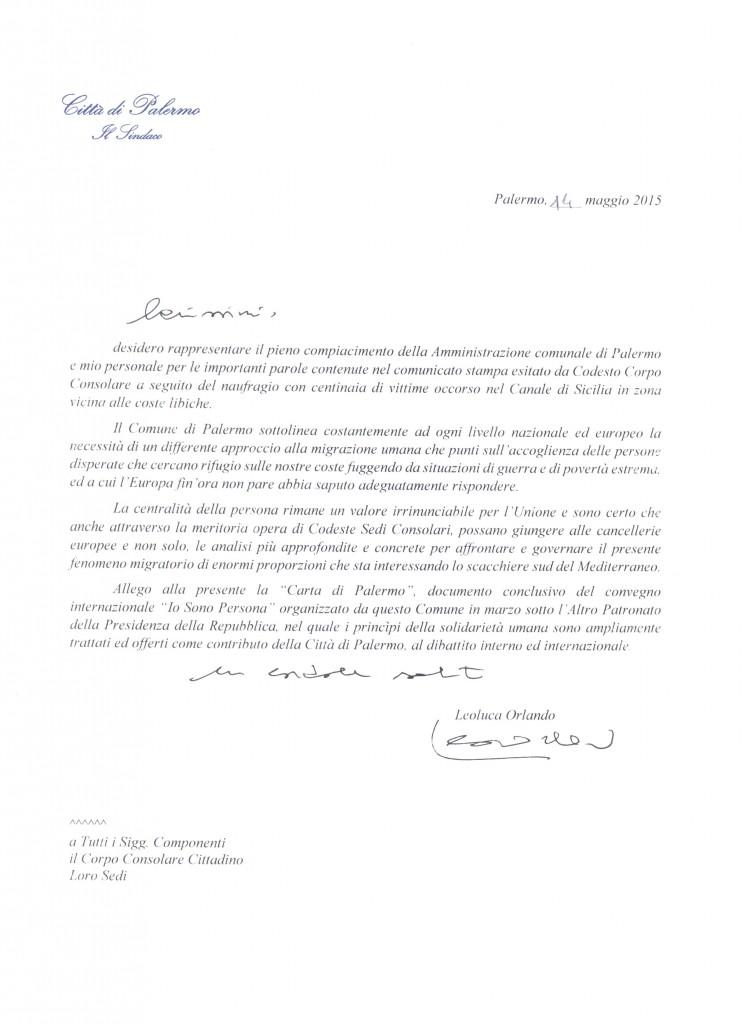Nota del Sindaco Leoluca Orlando per il Corpo Consolare di Palermo